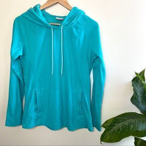 Columbia blue teal fleece hooded pullover large